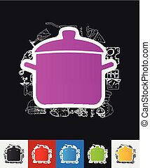 saucepan paper sticker with hand drawn elements - hand drawn...