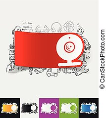 webcam paper sticker with hand drawn elements - hand drawn...