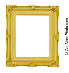 Empty contemporary vintage frame with vibrant color isolated...