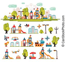 Childrens Playground drawn in a flat style - Childrens...