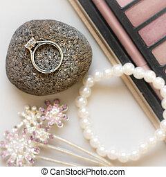 戒指, 集合, 石頭, 婚禮