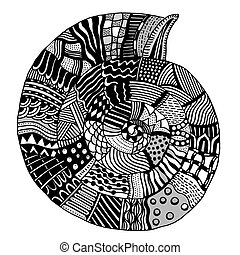 vector patterned seashell - Shell, zentangle patterned...