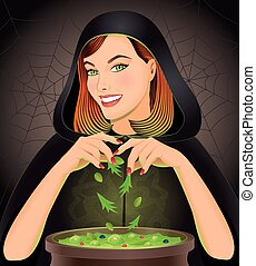 Witch brewing magic potion in cauld - Halloween background...