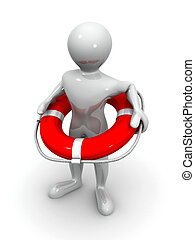 Men with life preserver - Men with lifepreserver. 3d