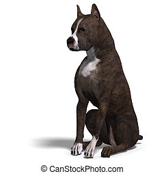 American Staffordshire Terrier Dog 3D rendering with...