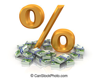 Percent with euro. 3d