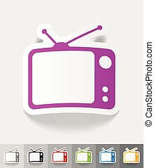 realistic design element tv set - tv set paper sticker with...