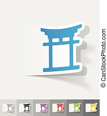 realistic design element japanese arch - japanese arch paper...