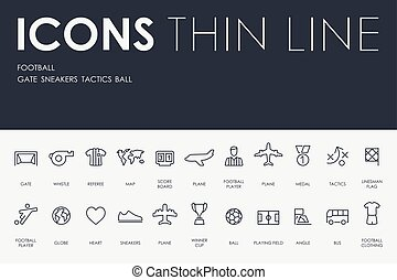 football Thin Line Icons - Thin Stroke Line Icons of...