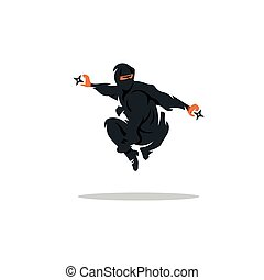 Vector Asian Ninja Cartoon Illustration Asia Assasin fighter...