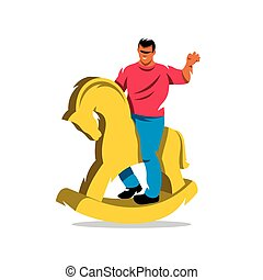 Vector Rider on horse Cartoon Illustration - The wooden...
