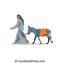 Vector Donkey Drover Cartoon Illustration - Bedouin and mule...