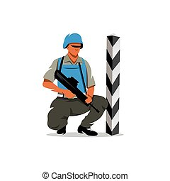 Vector Peacemaker in blue helmet Cartoon Illustration. -...