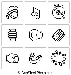 Vector Set of Muay Thai Icons. Fighter, Music, Gong, Makiwara, Champion Belt, Money Fist, Capa, Blood.