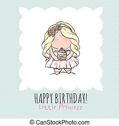 Happy Birthday card for girl. cute little girl. doodle.