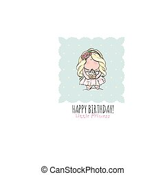 Happy Birthday card for girl. cute little . doodle.