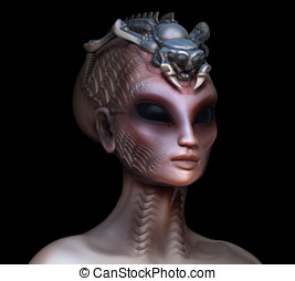 Hybrid alien woman queen with embedded parasite crown side...
