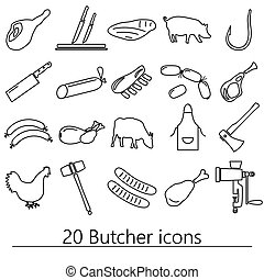 butcher and meat shop black outline icons set eps10