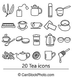 tea theme black simple outline icons set eps10