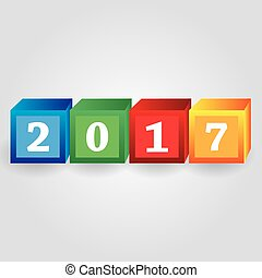 year 2017 from red green blue and yellow bricks with numbers...