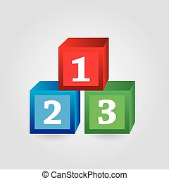 paper red green blue bricks with numbers eps10
