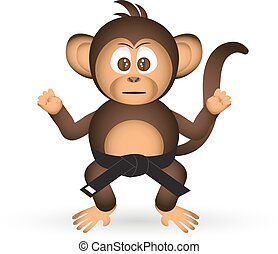 cute chimpanzee karate training black belt little monkey...