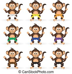 cute chimpanzee set with karate training color belts little...