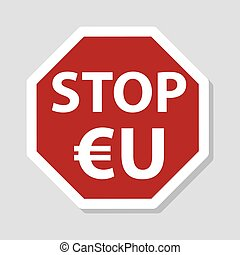 color stop european union sign eu with euro currency symbol...