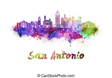 San Antonio skyline in watercolor splatters with clipping...