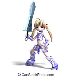 female manga paladin with huge sword 3D rendering with...