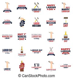 Labour Day labels - abstract labor day labels on a white...