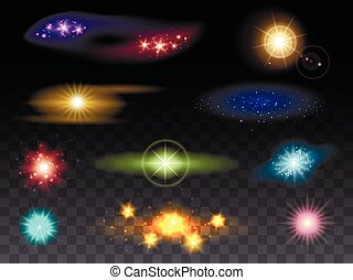 Lens flare effects and glowing light effects vector...