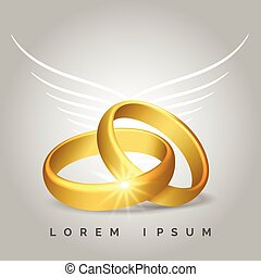 Golden wedding rings with angel wings