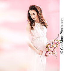 Portrait of a joyful pregnant lady - Portrait of a joyful...
