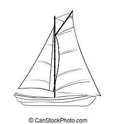 Contour of sailboats isolated on white. - Contour of...