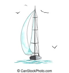 Sailboat in the sea and seagulls around. Objects made in the...