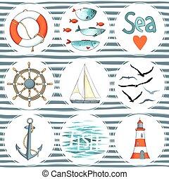 Sea set of 9 nautical elements isolated on white.