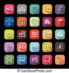 Real estate flat line icons with long shadow, stock vector