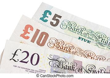 British five ten and twenty pound notes