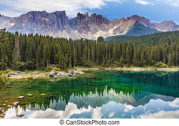 Karersee lake at Dolomites in Latemar - Perfectly clear...