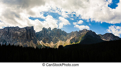 mountains at Latemar massif at Dolomites in the Alps -...