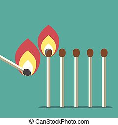 Row of matches - One match lighting many others. Leadership,...