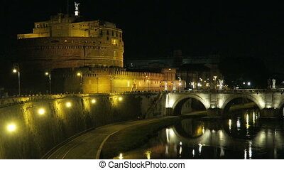 Rome Castel SantAngelo night view.