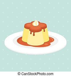 pudding or custard with caramel in plate illustration...