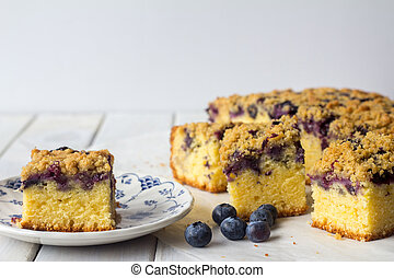 Blueberry Crumble Cake with Copy Space - Slice of Blueberry...