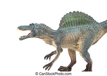 gris, gris, spinosaurus, juguete, en, Un, blanco, Plano de...