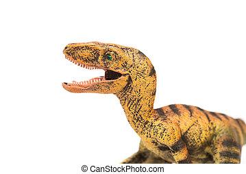 Velociraptor, blanco, juguete, Plano de fondo, amarillo