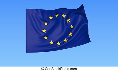Waving European union flag, exact size, blue background. 4K,...