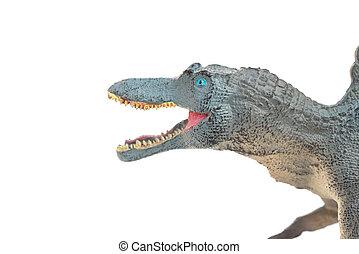 cierre, Arriba, de, gris, spinosaurus, juguetes, cabeza, en,...