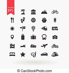 Travel icons set. Tourism signs collection. Vacation symbols isolated on white background. Flat design style.